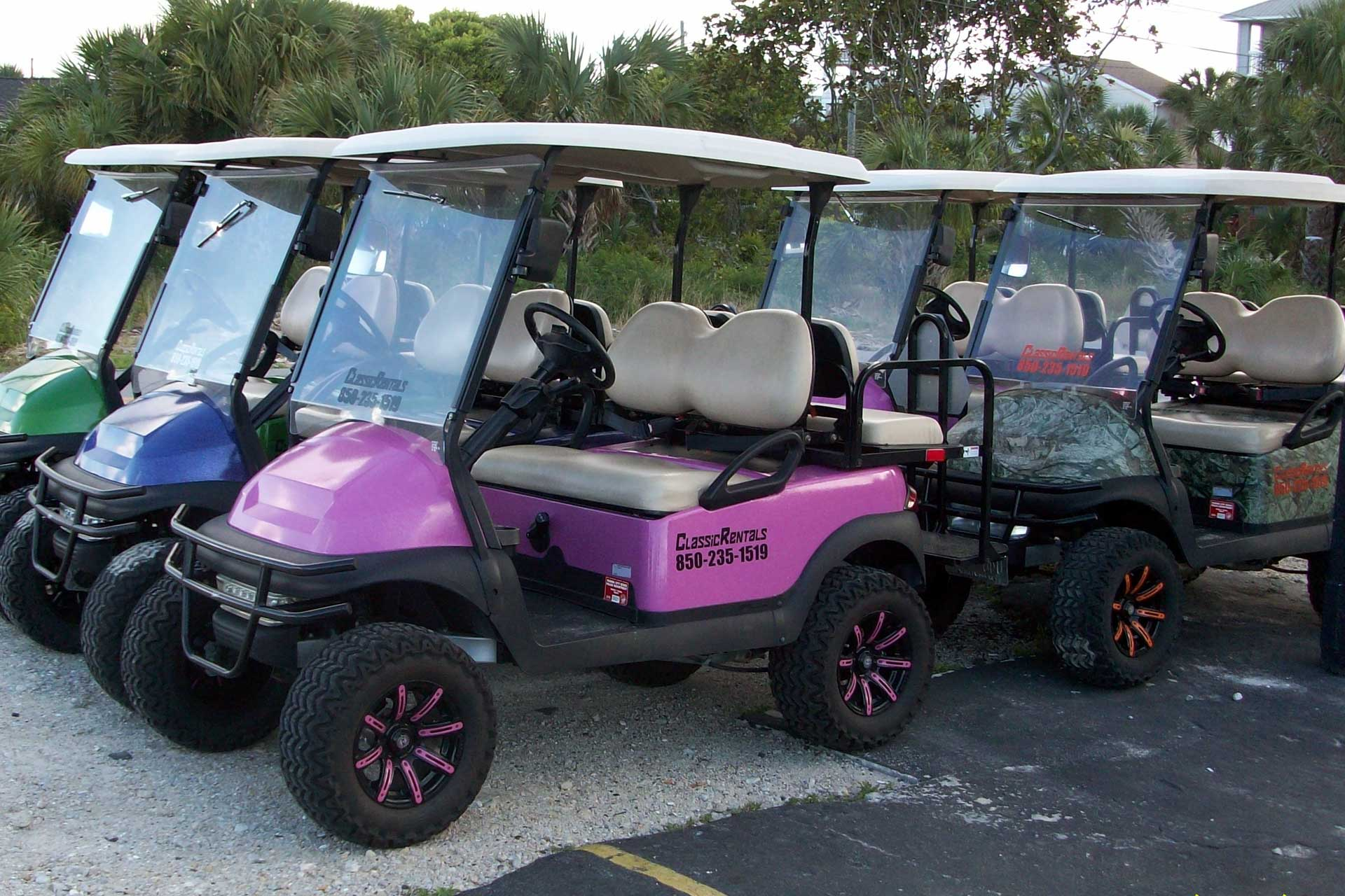 Some of our golf carts for rent in Panama City Beach and 30A Florida