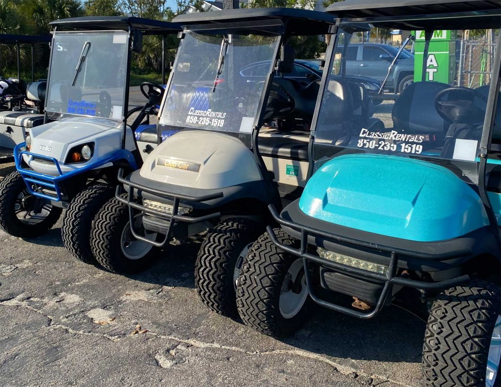 Some of our golf carts for rent on Panama City Beach, FL